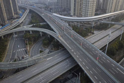 Empty freeway cloverleaf in China during pandemic